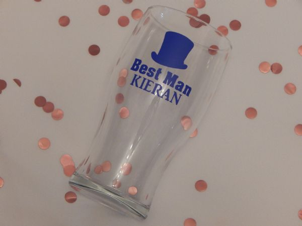 Personalised Wedding Pint Glass Top Hat, Name & Role